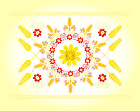 ornament with wheat and flower on colored background Illustration