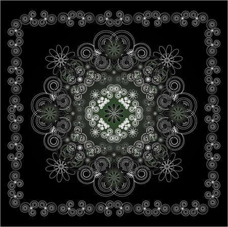 circle pattern with flower on black background