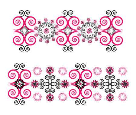 horizontal ornament with flower on white background Stock Vector - 9675946