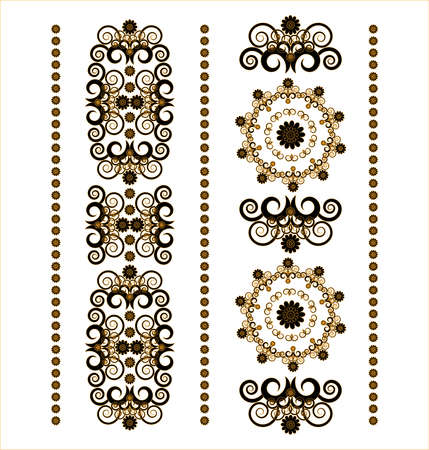 vertical ornament with flower on white background Illustration