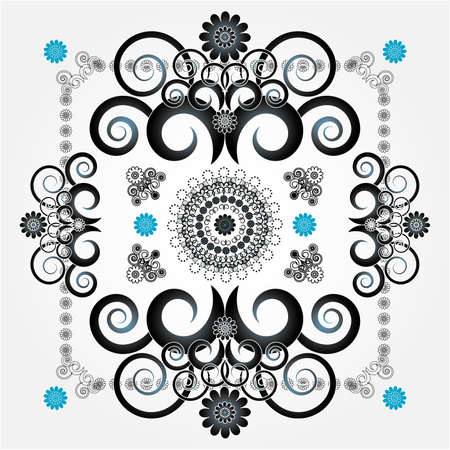 decorative pattern with flower on white background Illustration