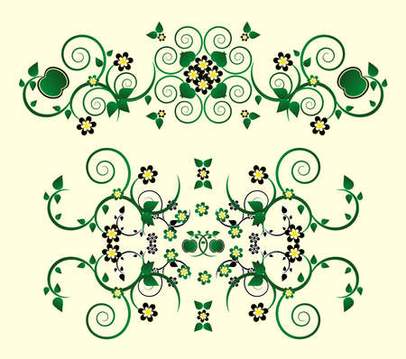 horizontal ornament with flower and curl