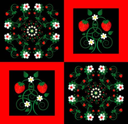 pattern with curl and flower on square background  Vector
