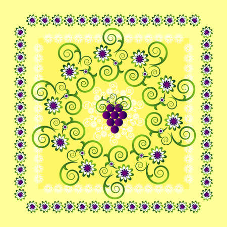 circle pattern with flower and grape Vector
