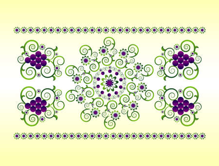 horizontal ornament with flower and grape Vector
