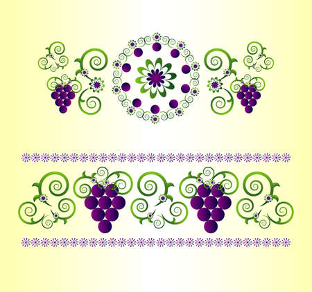 horizontal ornament with flower and grape Stock Vector - 9717298