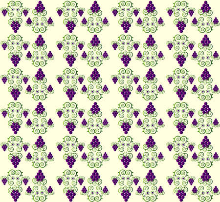 pattern with curl and grape seamless texture Vector