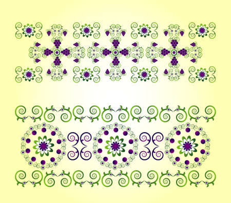horizontal ornament with grape and flower Vector