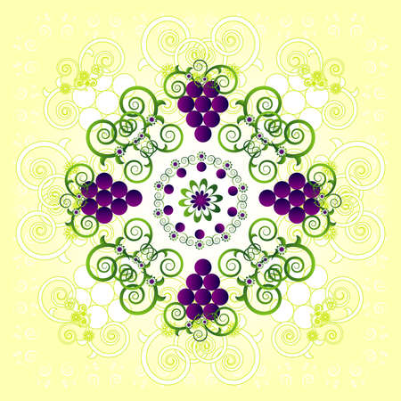 pattern with grape and flower Vector