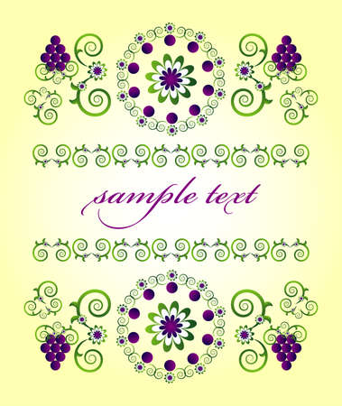 framework with flower and grape Vector