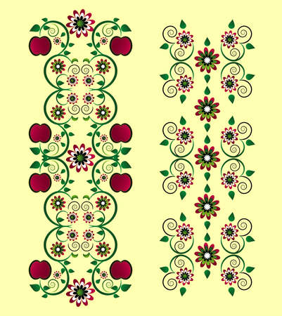 vertical ornament with apple and flower