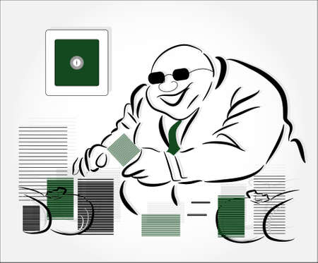 wealthy man: millionaire with money Illustration