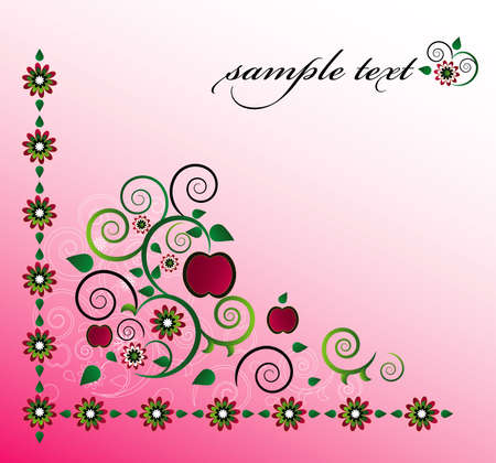 decorative background with apple and flower Vector