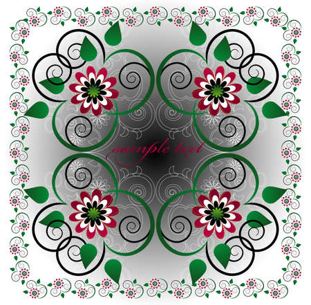 framework with flower and curl Vector