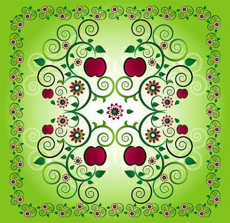 pattern with apple and flower Illustration