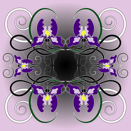pattern with flower and curl Vector