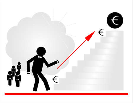 man running on ladder to money Stock Vector - 9921015