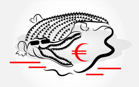 food absorption: Crocodile in water with euro