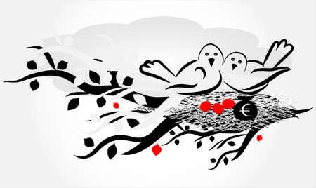 bird on nest with egg Vector