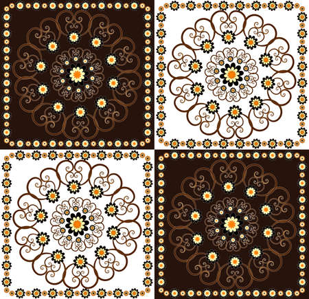 decorative square background with flower Stock Vector - 9921132