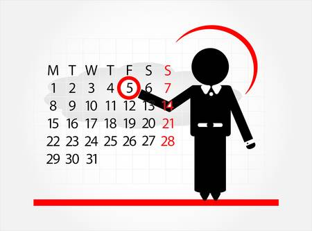 event planner: man with calendar  on white background Illustration