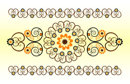 horizontal ornament with flower and curl Stock Vector - 9921325