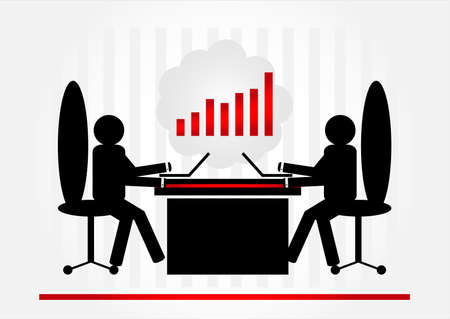 two man in office with computer Stock Vector - 9921332