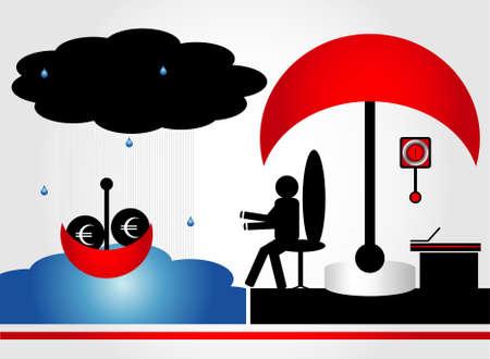 pedestal sink: rescue of money in bank Illustration