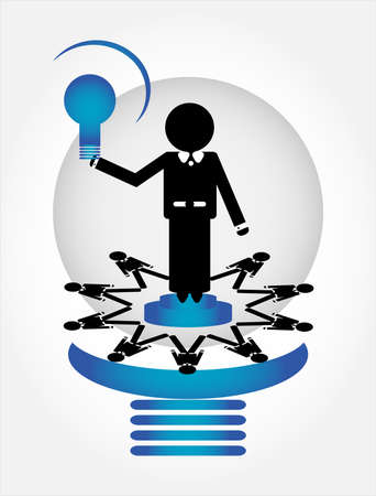 people in lamp with leader Stock Vector - 10034320