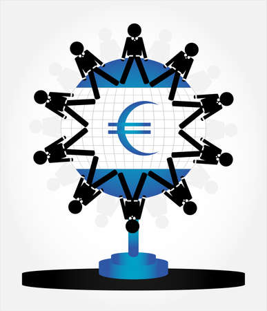 people on globe with money Stock Vector - 10034317