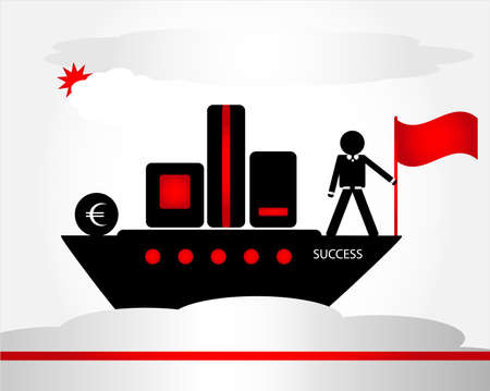 contentment: man with flag on ship Illustration