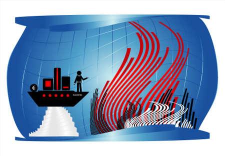 man on black ship under water Vector