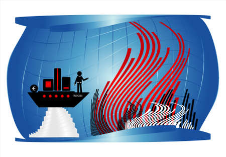 man on black ship under water Stock Vector - 10034376
