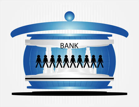 people in bank on grey background Illustration
