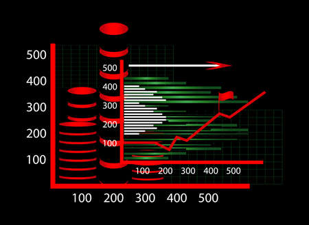 business chart with diagram on black background Illustration