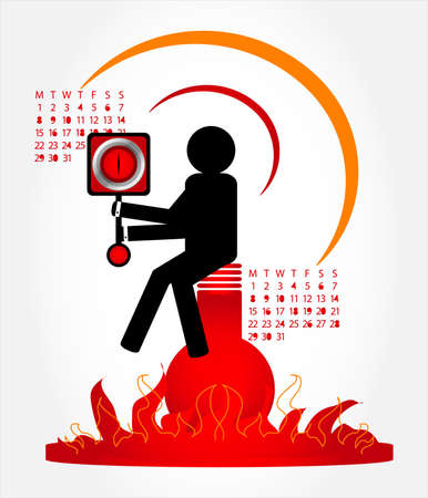weariness: man with clock on fire