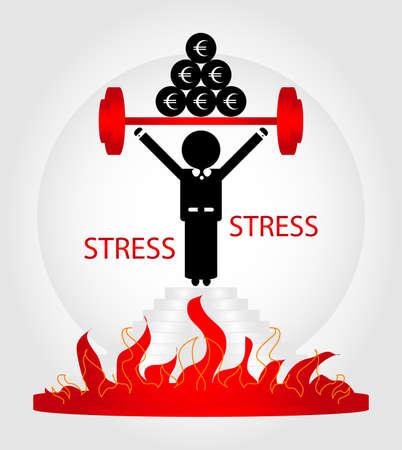 man in de stress op voetstuk