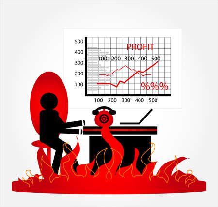 weariness: stress man in fire office