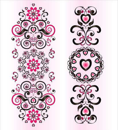 pink and black: vertical ornament with flower