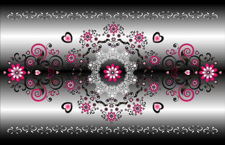 horizontal ornament with flower Vector