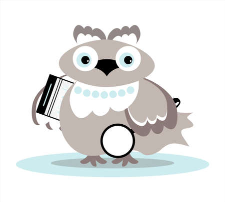 grey owl with folder and  magnifie Vector