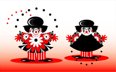 sad clown and happy clown with ball Stock Vector - 10626980