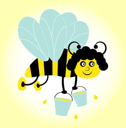 bee with bucket on yellow background Stock Vector - 10626979