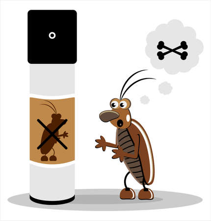 exterminator: brown cockroach with spray on white  background