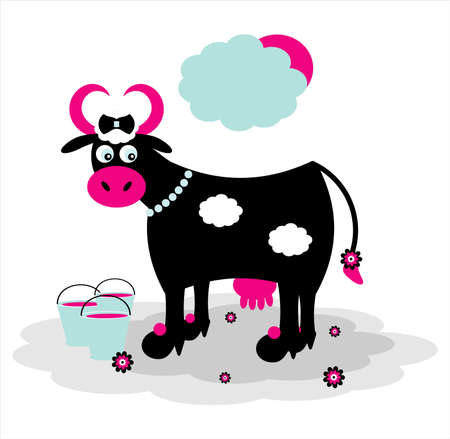 black cow with bucket on grass Illustration