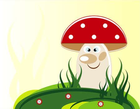 mushroom in grass and flower Stock Vector - 10684302