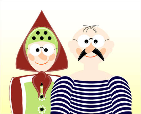 happy older couple: portrait of old man and woman