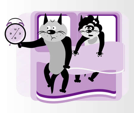 cat in bed with clock Vector