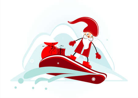 santa with gift on snowboard Vector