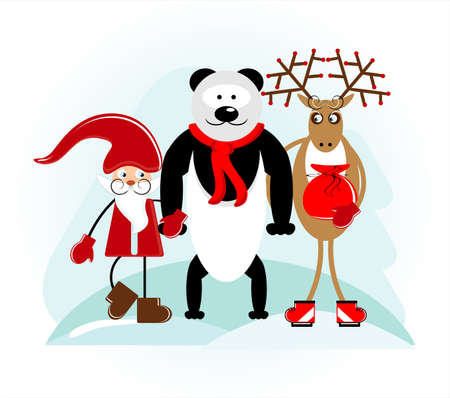 santa with bear and deer in holiday Vector